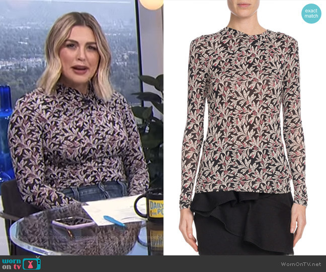 Trend Floral-Print Long-Sleeve Top by Etoile Isabel Marant worn by Carissa Loethen Culiner (Carissa Loethen Culiner) on E! News