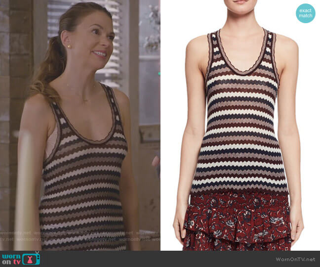 Amory Zigzag Racerback Top by Etoile Isabel Marant worn by Liza Miller (Sutton Foster) on Younger