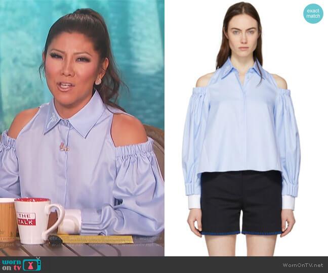 Blue Open Shoulder Palm Shirt by Fendi worn by Julie Chen on The Talk