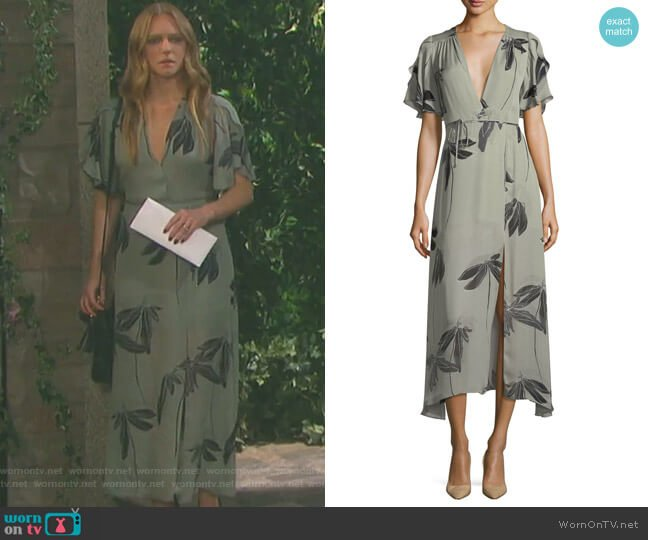 Flutter-Sleeve Printed Silk Faux-Wrap Dress by Halston Heritage worn by Abigail Deveraux (Kate Mansi) on Days of our Lives