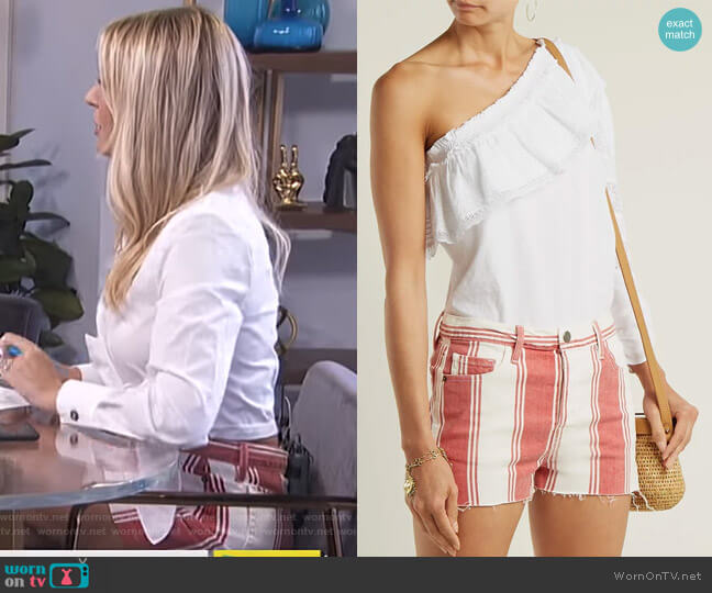 Le Cut Off Striped Shorts by Frame worn by Morgan Stewart  on E! News