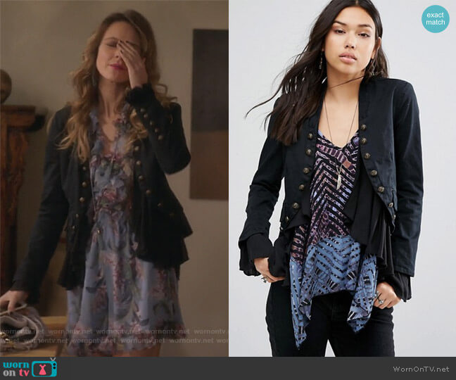 Romantic Ruffles Jacket by Free People worn by Phoebe Wells (Beau Garrett) on GG2D