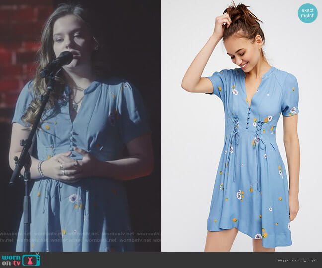 Dream Girl Mini Dress in Chambray Multi by Free People worn by Daphne Conrad (Maisy Stella) on Nashville