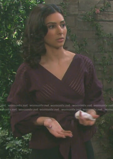 Gabi's purple shadow stripe wrap top on Days of our Lives