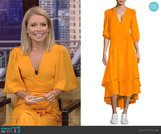 Wilkie Seersucker Wrap Dress by Ganni worn by Kelly Ripa on Live with Kelly & Ryan