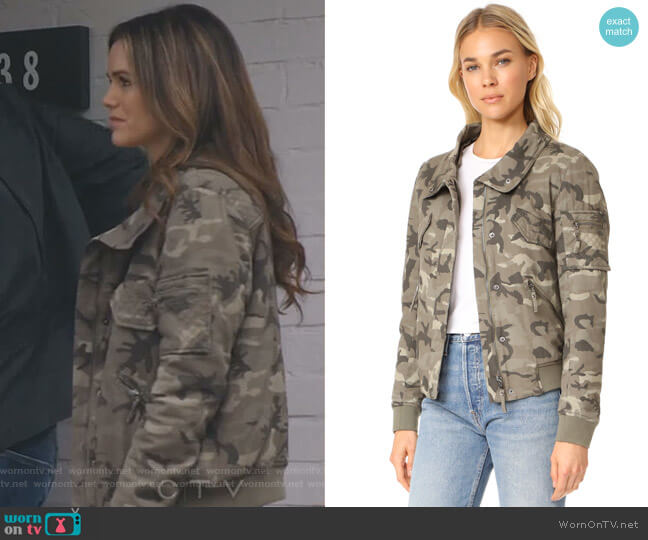 Fran Camo Bomber Jacket by Generation Love worn by Rachel Bilson on Take Two