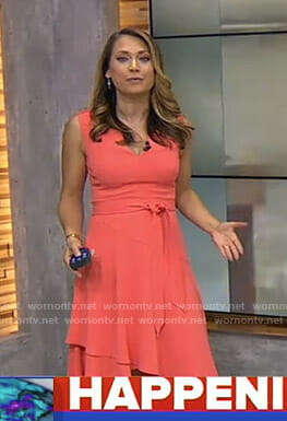 Ginger's coral v-neck tie waist dress on Good Morning America