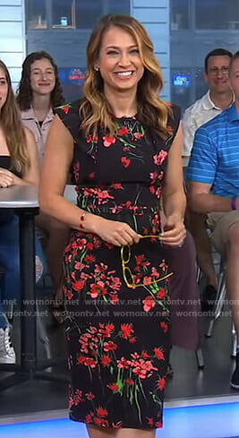 Ginger's black floral flutter sleeve dress on Good Morning America