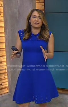 Ginger's blue perforated fit and flare dress on Good Morning America