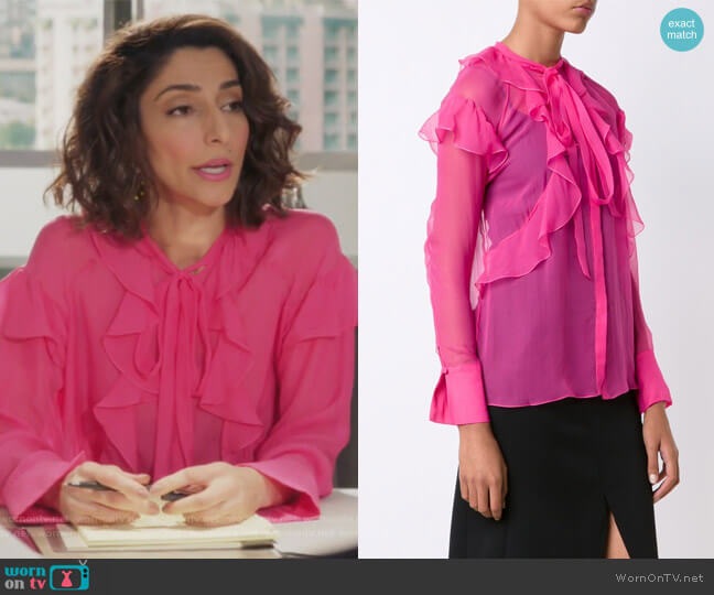 Sheer Ruffled Shirt by Givenchy worn by Delia (Necar Zadegan) on GG2D