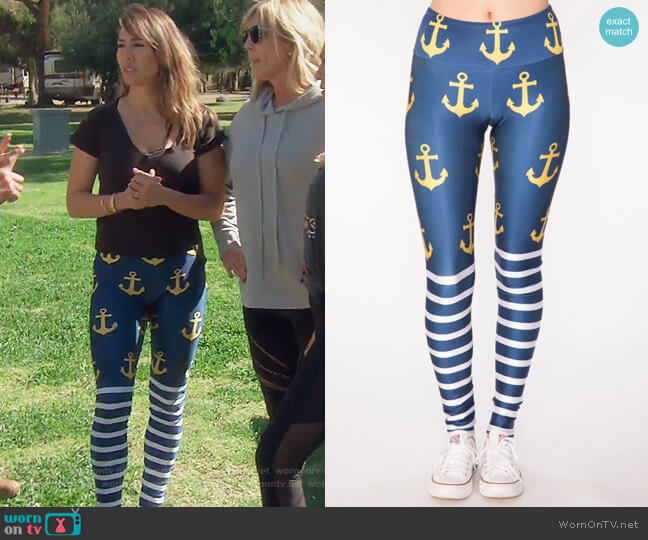 Golden Anchor Leggings by Gold Sheep worn by Kelly Dodd  on The Real Housewives of Orange County