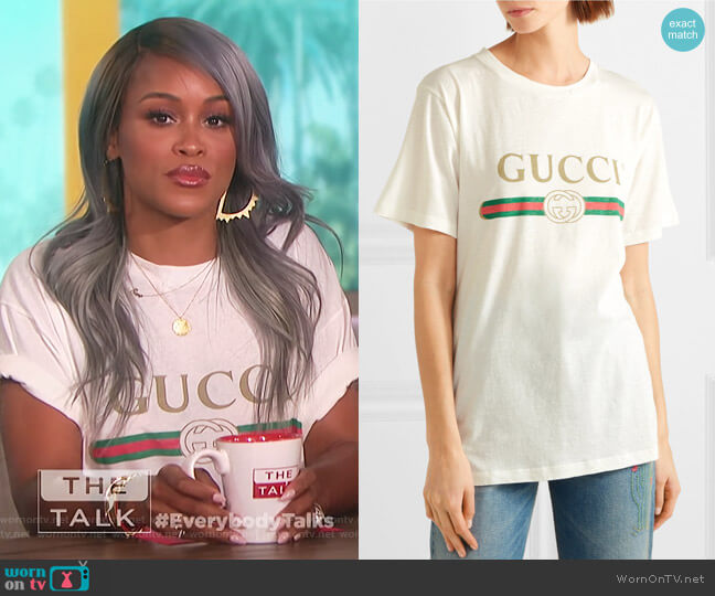 Appliquéd distressed printed cotton-jersey T-shirt by Gucci worn by Eve  on The Talk