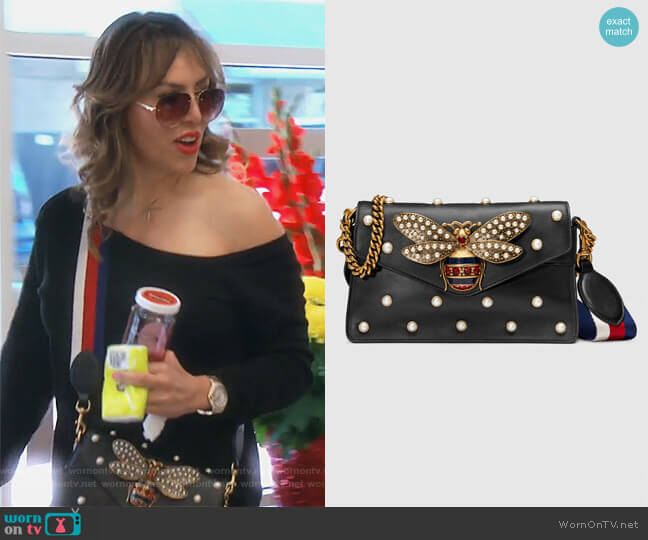 Broadway leather mini bag by Gucci worn by Kelly Dodd  on The Real Housewives of Orange County