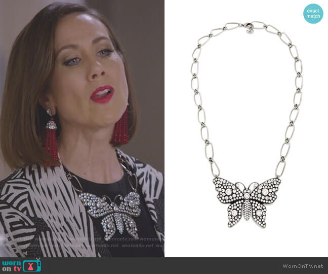 Butterfly Crystal-Embellished Necklace by Gucci worn by Miriam Shor on Younger
