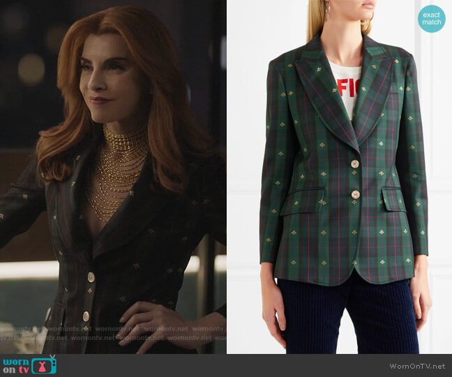 Embroidered checked wool blazer by Gucci worn by Kitty Montgomery (Julianna Margulies) on Dietland