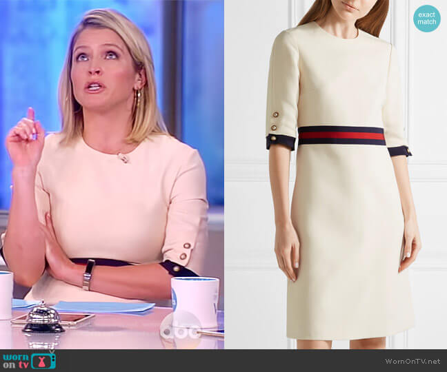 Grosgrain-trimmed wool and silk-blend mini dress by Gucci worn by Sara Haines on The View
