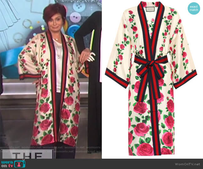Printed Silk Cardigan by Gucci worn by Sharon Osbourne  on The Talk
