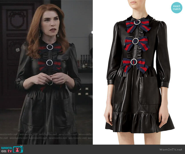 3/4-Sleeve Bow-Trim Leather Dress by Gucci worn by Kitty Montgomery (Julianna Margulies) on Dietland