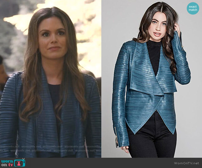 'Shayna' Drape Leather Jacket by Guess worn by Rachel Bilson on Take Two