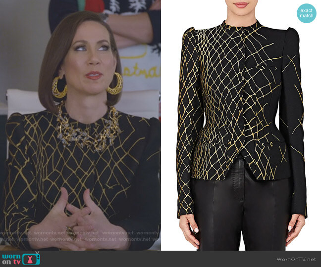 Jacquard Peplum Blazer by Haider Ackermann worn by Miriam Shor on Younger