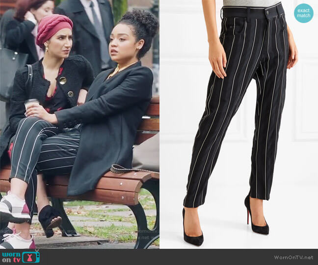 Striped cotton-twill tapered pants by Haider Ackermann worn by Kat Edison (Aisha Dee) on The Bold Type