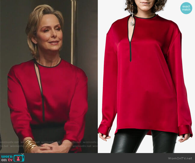 Red Satin Binding Detail Shirt by Haider Ackermann worn by Jacqueline (Melora Hardin) on The Bold Type