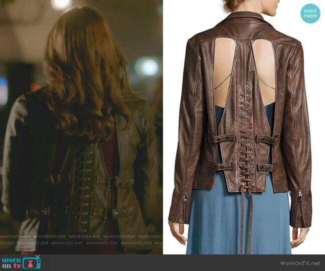 Blondie Open Lace-Back Leather Jacket by Haute Hippie worn by Danielle Rose Russell on The Originals