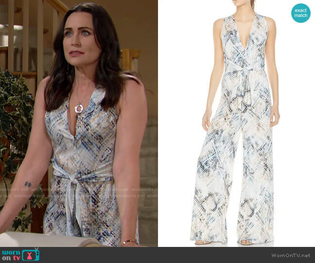 Haute Hippie Lounge Snakeskin-Print Wide-Leg Jumpsuit worn by Quinn Fuller (Rena Sofer) on The Bold & the Beautiful