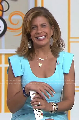 Hoda's blue scoop neck dress on Today