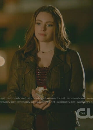 Hope's brown open back moto jacket on The Originals
