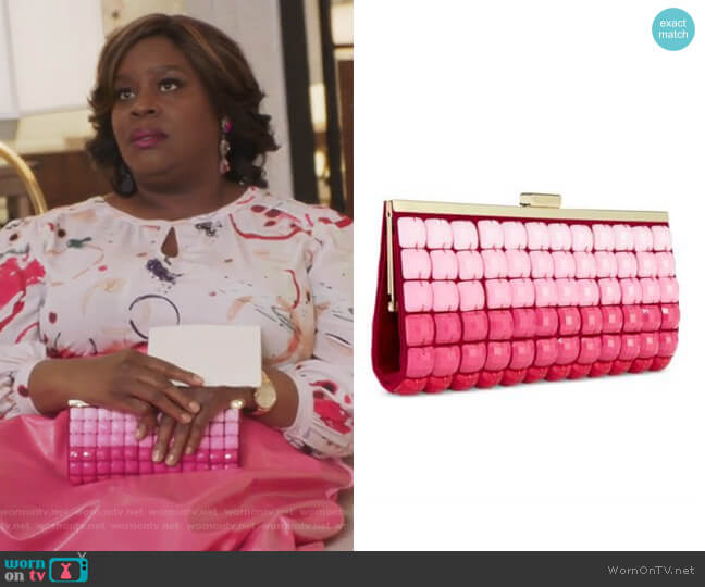 Pink Ombre Tile Clutch Purse by INC International Concepts worn by Barbara (Retta) on GG2D