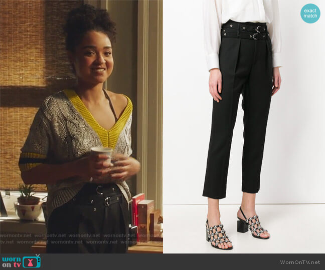 buckled cropped trousers by IRO worn by Aisha Dee on The Bold Type