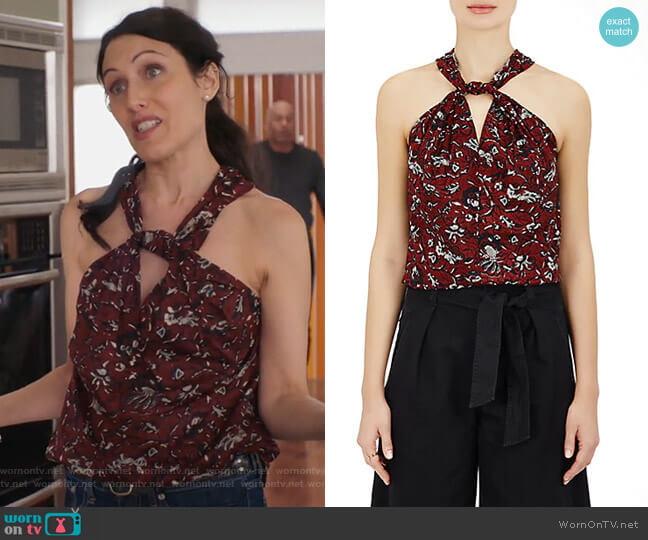 Acan Floral Cotton Top by Isabel Marant Etoile worn by Lisa Edelstein on GG2D