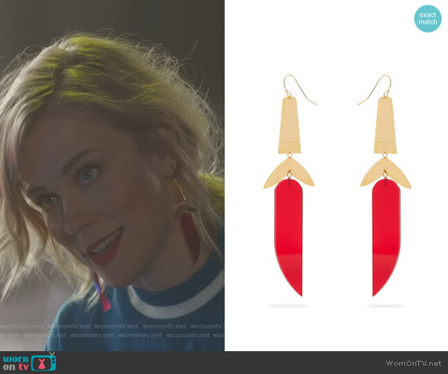 Other Potatoes Perspex earrings by Isabel Marant worn by Ilse DeLange on Nashville
