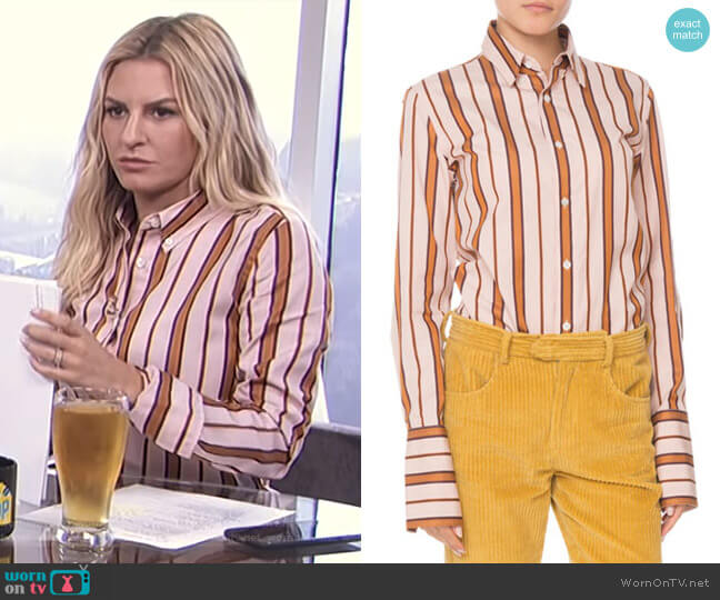 Uliana Button-Front Long-Sleeve Striped Blouse by Isabel Marant worn by Morgan Stewart  on E! News