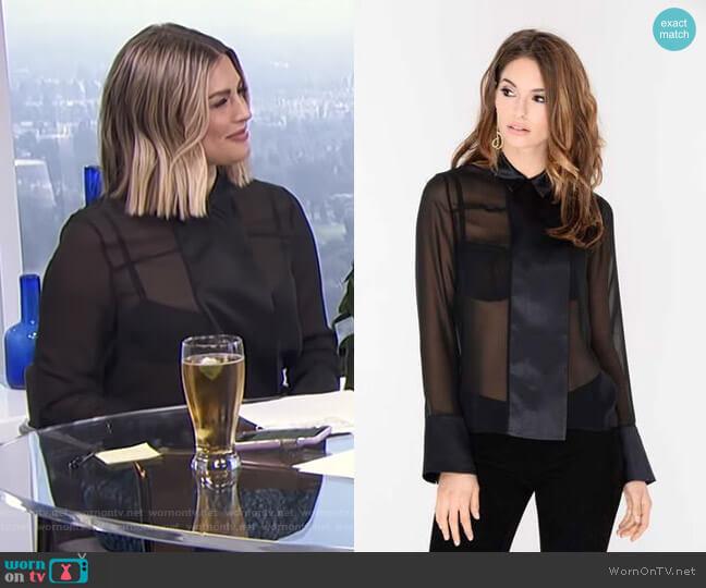 Regina Silk Blouse by J. Dosi worn by Carissa Loethen Culiner (Carissa Loethen Culiner) on E! News
