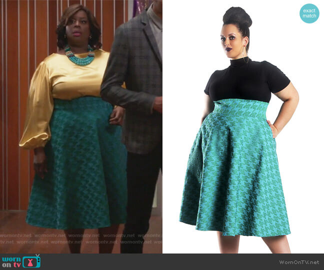 High Waist Green Swing Skirt by Jibri worn by Barbara (Retta) on GG2D
