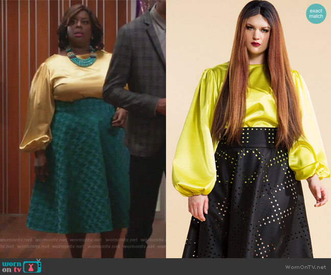Trumpet Blouse by  Jibri worn by Barbara (Retta) on GG2D