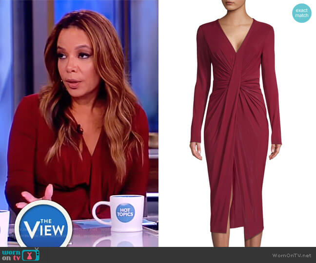 Fluid Jersey Ruched Twist Dress by Jason Wu worn by Sunny Hostin (Sunny Hostin) on The View