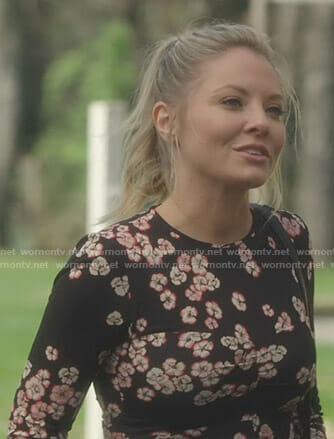Jessie's black floral long sleeve top on Nashville