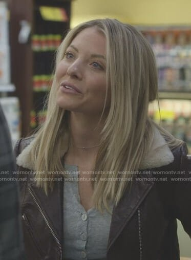 Jessie's grey henley top and brown leather jacket on Nashville
