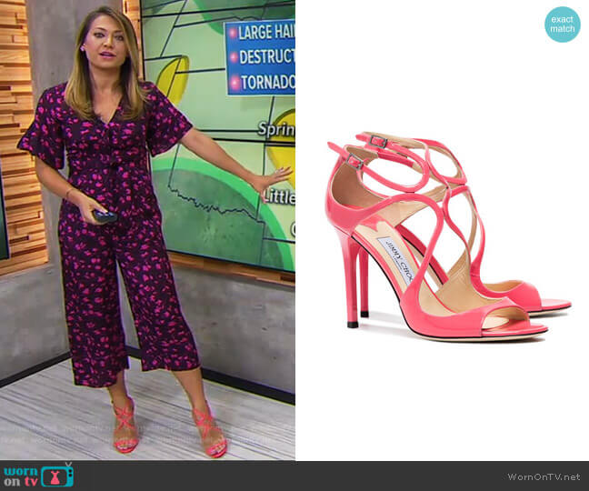 Lang Patent Leather Sandals by Jimmy Choo worn by Ginger Zee  on Good Morning America