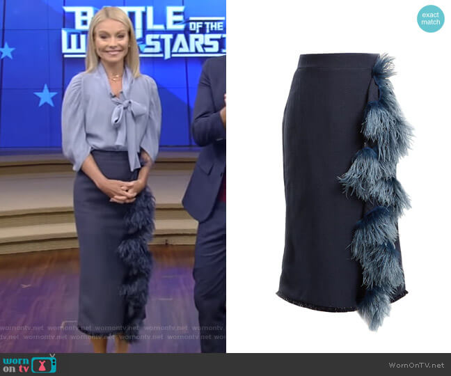High-Rise Feather-Embellished Midi Skirt by Johanna Ortiz worn by Kelly Ripa  on Live with Kelly & Ryan