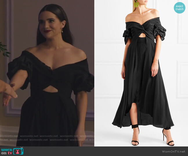 Maria Felix off-the-shoulder silk midi dress by Johanna Ortiz worn by Katie Stevens on The Bold Type