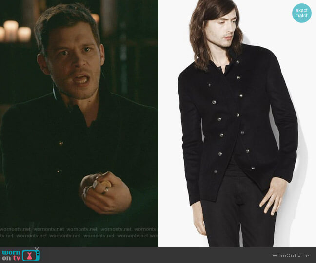 Double Breasted Leather Trimmed Jacket by John Varvatos worn by Klaus Mikaelson (Joseph Morgan) on The Originals