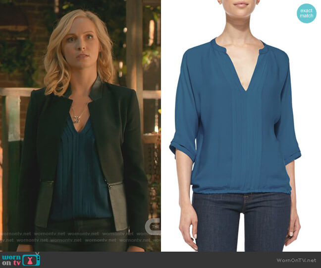 Marru Pintuck-Front Silk Blouse by Joie worn by Candice King on The Originals