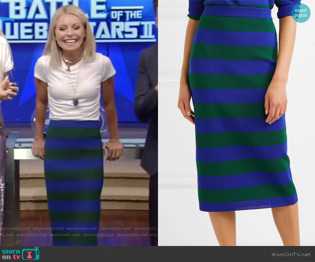Green & Blue Striped Milano Skirt by Joseph worn by Kelly Ripa on Live with Kelly & Ryan