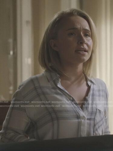 Juliette's white plaid shirt on Nashville