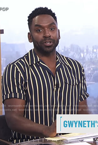Justin's navy and yellow striped shirt on E! News Daily Pop