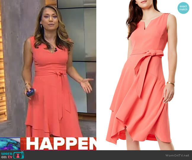 Crossover-Hem Midi Dress by Karen Millen worn by Ginger Zee (Ginger Zee) on Good Morning America
